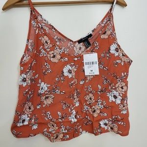 NWT Cropped Orange Floral Forever 21 Tank Top